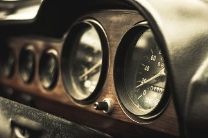 Car dashboard in retro style
