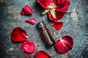 Bottle of roses essential oil