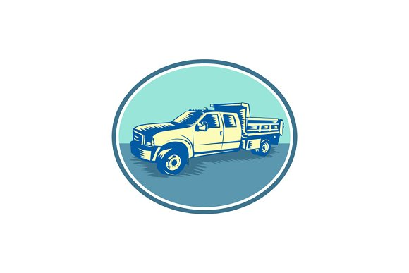 Tipper Pick-up Truck Oval Woodcut