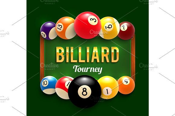 Pool Billiards Vector Tourney Poster