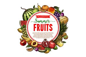 Vector sketch fruit store poster of farm fruits