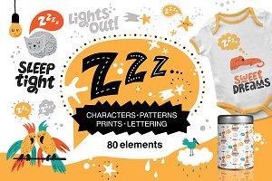 Z-Z-Z. Sleeping animals. Graphic set