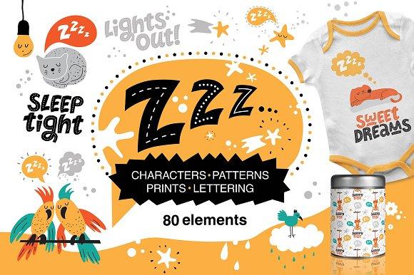 Z-Z-Z Sleeping Animals Graphic Set