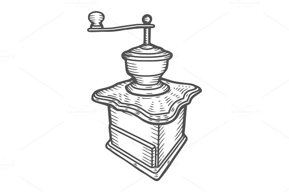 Coffee Mill Hand Drawn Sketch Style