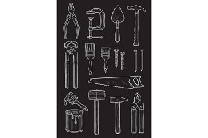 Vector work tools home repair sketch chalk icons