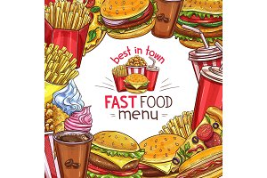 Vector fast food sketch menu poster design