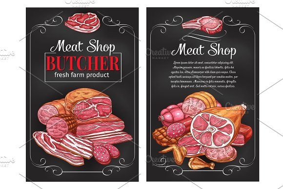 Vector Sketch Sausages And Meat For Butcher Shop