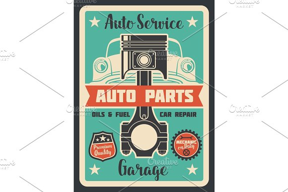 Auto Service Vector Poster