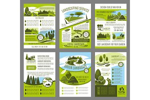 Vector landscape garden design brochure template
