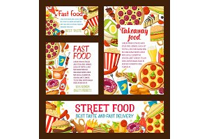 Vector strert food fastfood takeaway posters