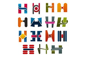 H letter vector icons template company brand name