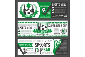 Vector soccer sports bar football pub menu banners