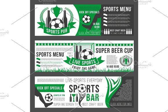 Vector Soccer Sports Bar Football Pub Menu Banners