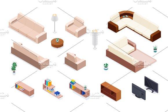 Isometric Furniture Vector Set