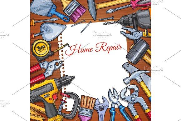 Vector Work Tools Home Repair Sketch Poster