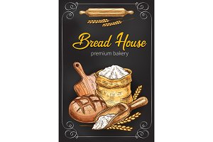 Vector sketch poster for bakery bread house