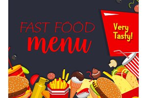 Vector fast food meals and snaks menu poster