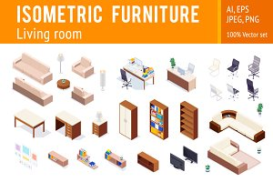 Isometric furniture vector set
