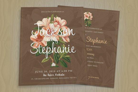 Minimal Floral Wedding Invitation