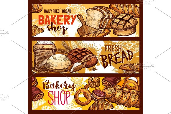 Vector Bread Sketch For Bakery Shop