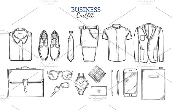 Business Clothing Sketch Set