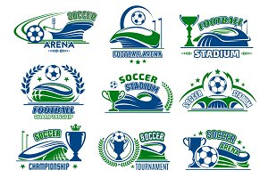 Vector football isolated icons for soccer sport