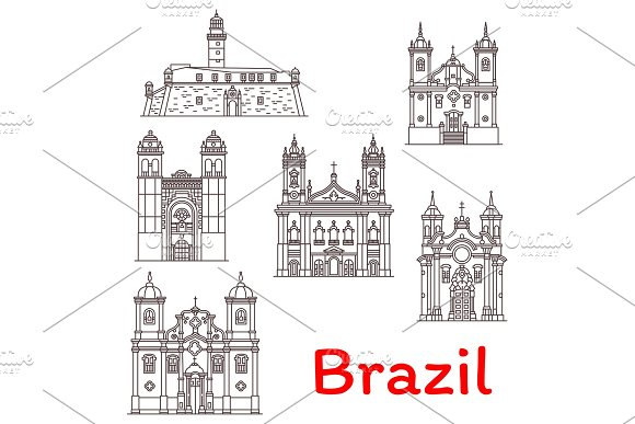 Brazil Landmarks Vector Architecture Line Icons