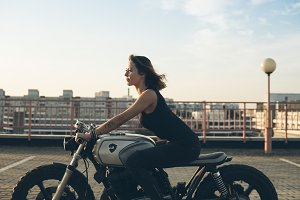girl driving motorcycle