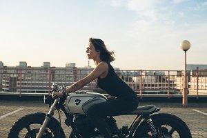girl driving motorcycle
