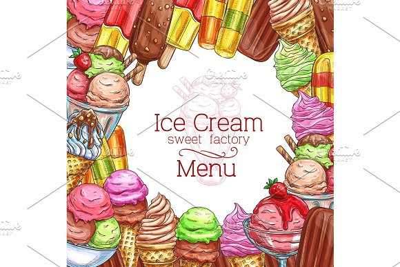 Vector Ice Cream Desserts Sketch Menu Poster