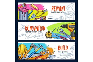Vector work tools home repair sketch banners
