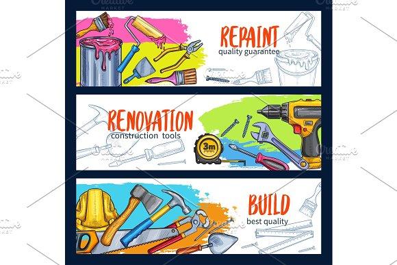 Vector Work Tools Home Repair Sketch Banners