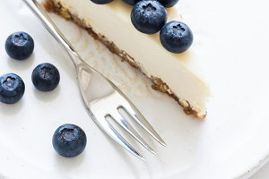 Cheesecake slice with blueberries