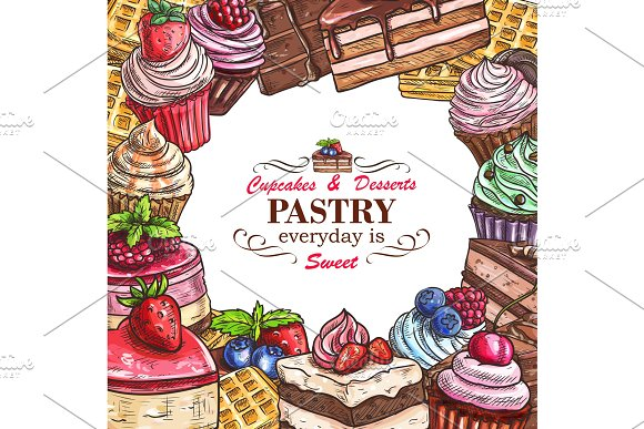 Vector Desserts Pastry Shop Sketch Poster
