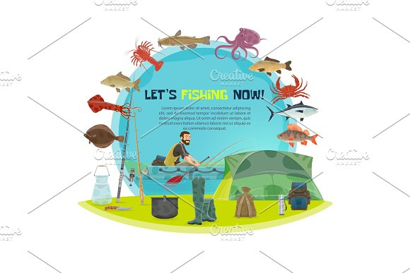 Vector Fisherman Sport Fishing Poster