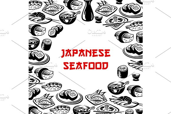 Vector Japanese Seafood Sushi Restaurant Poster