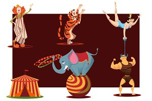 Circus cartoon characters in vector