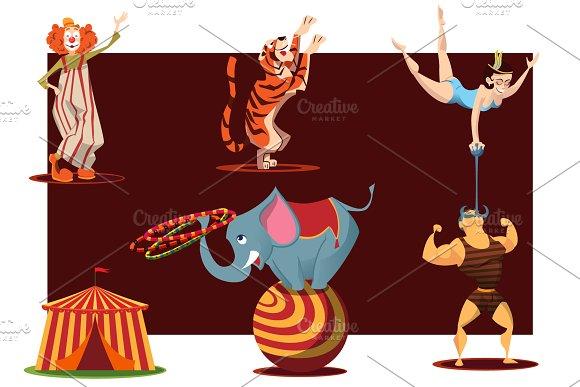 Circus Cartoon Characters In Vector