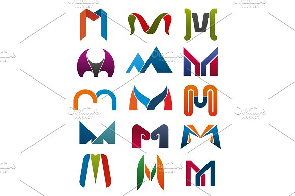 M Letter Vector Icons Template Company Brand Name