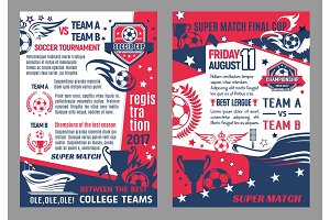 Vector soccer football championship posters