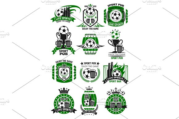 Vector Soccer Sports Bar Football Pub Icons