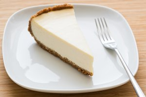 Classic New York cheesecake on plate