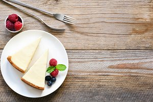 New York cheesecake, top view