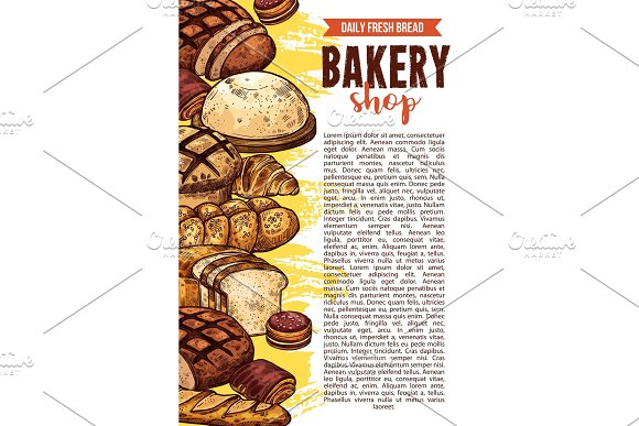 Vector Sketch Bakery Shop Bread Poster