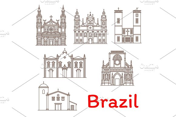 Brazil Landmarks Architecture Vector Line Icons