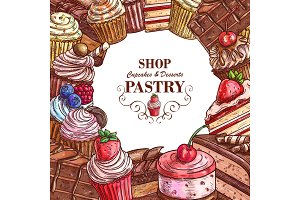 Vector pastry shop sketch desserts cakes poster
