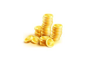 Vector coins icon of golden dollar coin cent stack