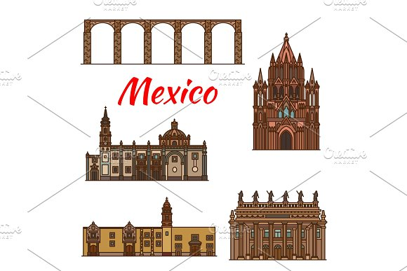 Mexico Landmarks Architecture Vector Line Icons