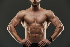 Cropped image of a bodybuilder