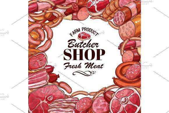 Vector Sketch Meat Products For Butcher Shop